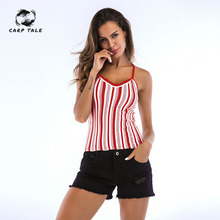 New Women Striped Print Knit Tops Colorful Sleeveless Tank Spring Summer Casual Vintage Sexy Pullover Knitted Top