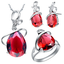 Multicolored Silver Plated Red Purple Rhinestone Wedding Necklace Earrings Ring Women's 2016 New Fashion Dubai Jewelry Set T058