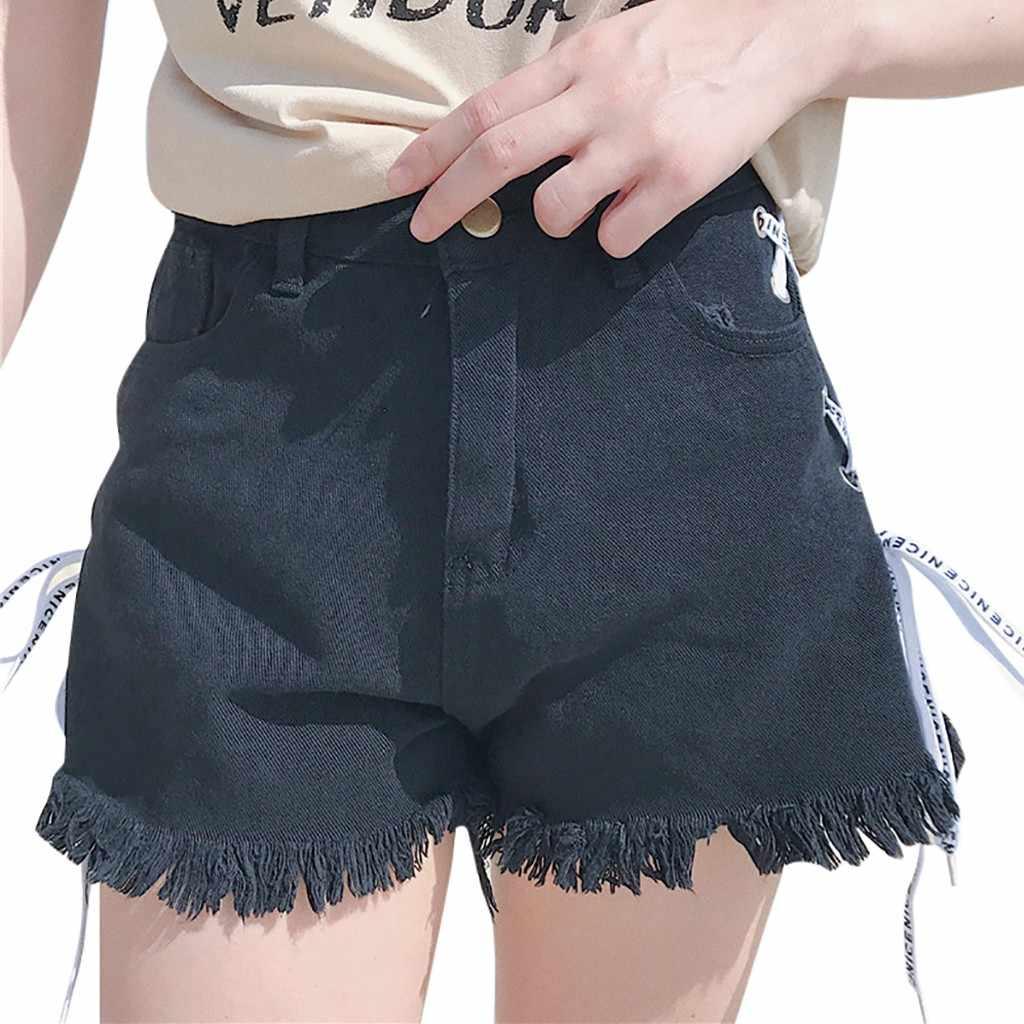 JAYCOSIN Sexy wysokiej talii bandaż Denim zgrywanie krótkie dżinsy kobiet Mini Skinny Sexy szorty nowy biały niebieski czarny dropshipping 522 W