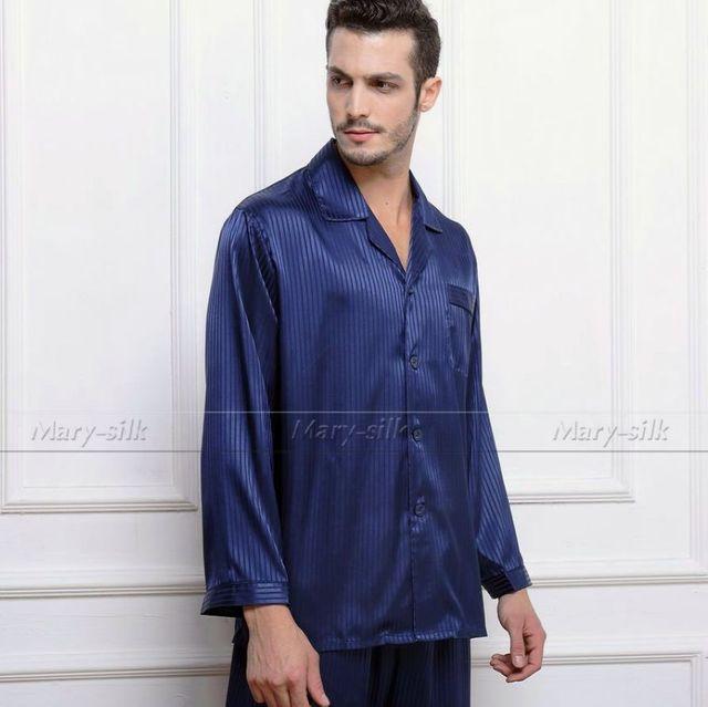 Mens De Satén de Seda Pajamas Set Pijama pijama PIJAMA ropa de Dormir Conjunto Loungewear USS, M, L, XL, 2XL, 3XLL, 4XL Plus Rayas