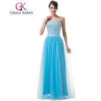 New Arrival Grace Karin Beautiful Floor Length Long Blue Evening Dresses Tulle Sweetheart Prom Dress Sequins Party Gown 6255