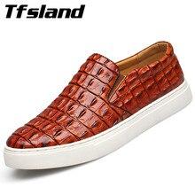 Tfsland/Роскошные мужские мягкие туфли из крокодиловой кожи для вождения; Новинка; сезон весна; дышащие слипоны на плоской подошве; прогулочная обувь; кроссовки размера плюс 47