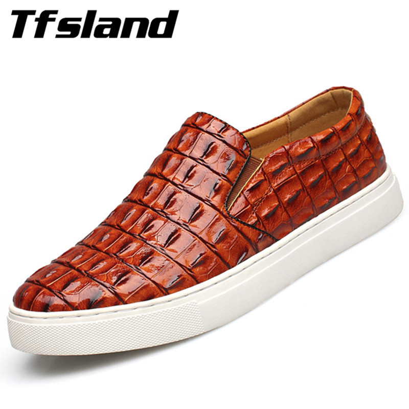 Tfsland Luxury Men Soft Crocodile Leather Kjøresko Ny Vår Pustende Slip på Flats Walking Sko Sneakers Plus Size 47