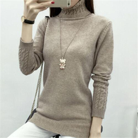 Women Sweater 2016 Autumn Winter New Casual Korean Cotton Solid Velour Pullover Long Sleeve Thin Turtleneck