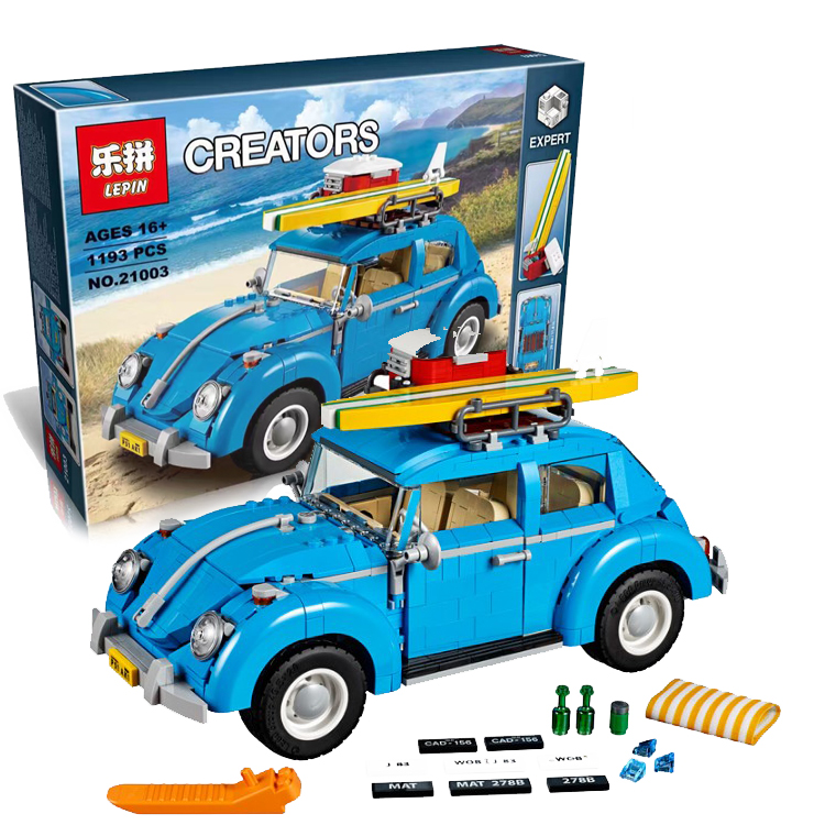 2017 LEPIN 21003 Creator Series City Car Volkswagen Beetle model Building Blocks Compatible legeo Blue Technic Car Toy 05007 new lepin 21003 series city car beetle model educational building blocks compatible 10252 blue technic children toy gift