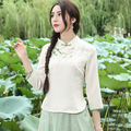 Women Beige Blouse Cheongsam Style Ethnic Three Quarter Sleeve Mandarin Y Blouse Shirt Top Traditional Chinese Clothing