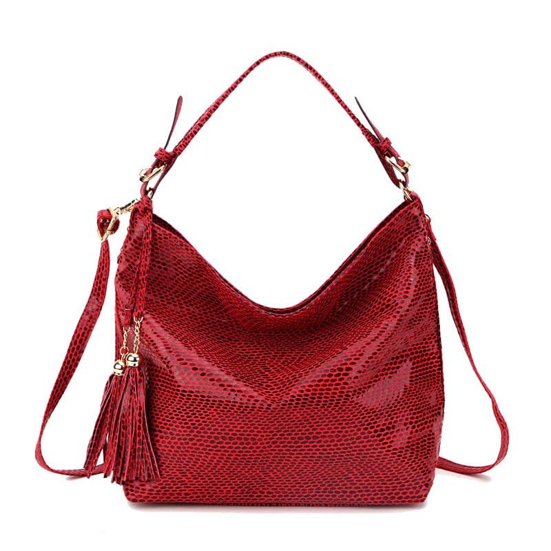 Women Tassel Handbag Female Serpentine Pattern Hobos Bag Snake Leather Women Shoulder Bag Red Handbags for Women 2018 bolsos