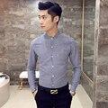 Повседневная мужская рубашка Плед Тонкий Бизнес джентльмен осень рубашку с длинными рукавами Стоять воротник мужской хлопок рубашка синий черный CS302