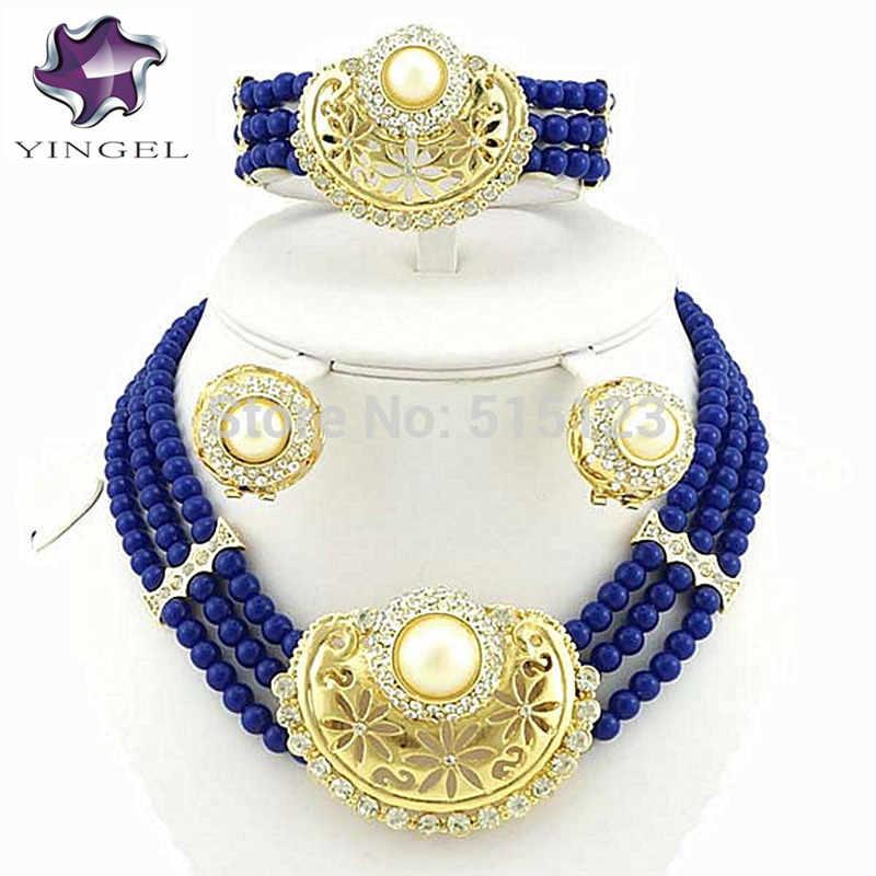 Жемчужный свадебный ювелирный набор женское ожерелье из бисера африканские комплекты больших украшений Свадебные бусы ювелирные изделия Женское Ожерелье