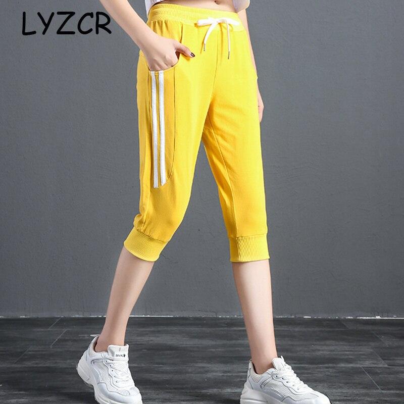 Women's Summer Capris Striped Pants Harem 2019 Cotton Plus Size Harem Capri Pants Women Loose High Waist Capri Trousers Female