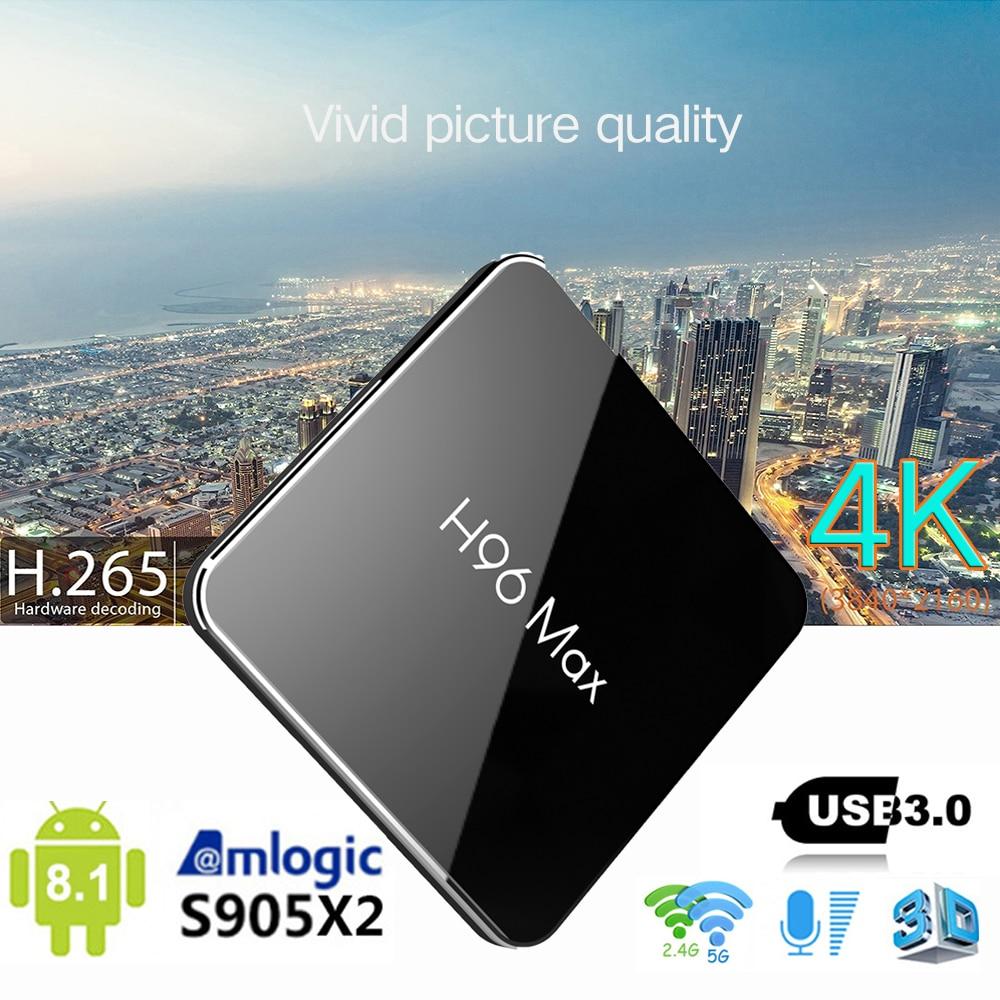 H96 MAX X2 Android 8.1 TV Box 4GB RAM 64GB ROM Set Top Box RK3328 2.4G/5G Wifi 4K H.265 Media Player support iptv