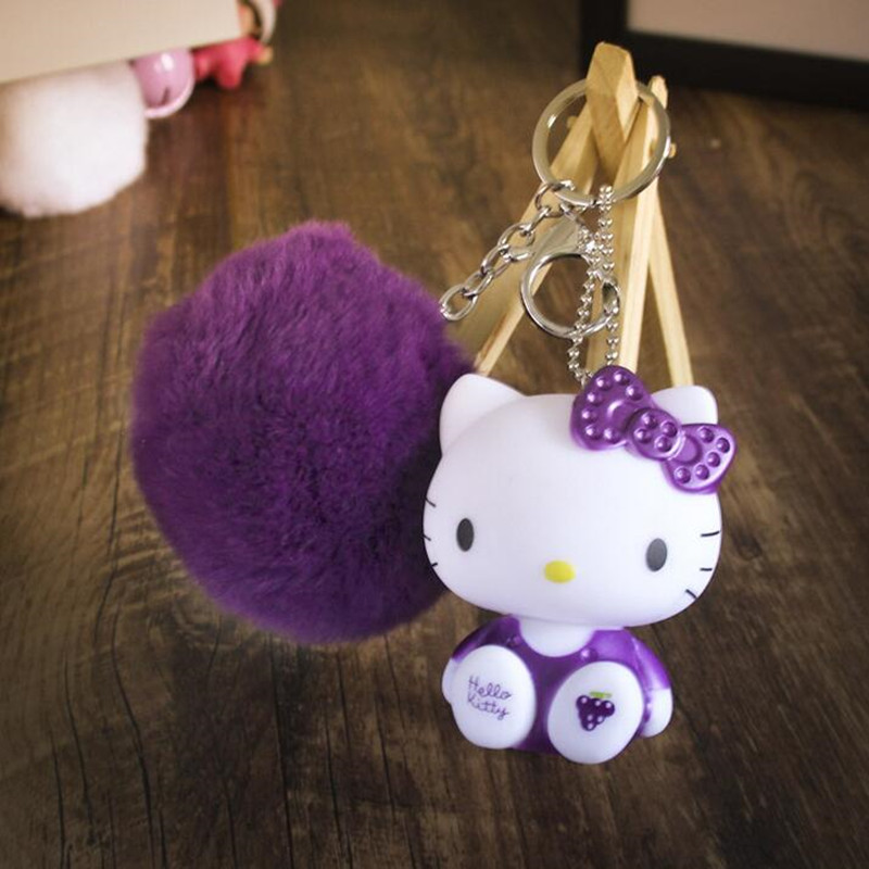 CXZYKING Hello Kitty Plush Stuffed Dolls For Children Kawaii Baby Toys Hello Kitty Keychain Ring Plush Pendant Gift For Girl 20cm high quality hello kitty plush toys hug pillow fruit kt cat stuffed dolls for girls kids toys gift mini animal plush doll