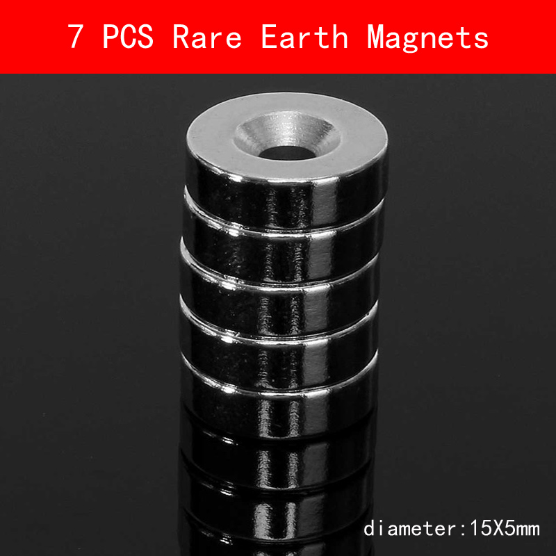 New 7pcs 15 mm x 5 Strong Ring Magnets Countersunk Hole Rare Earth Neodymium Circular magnet