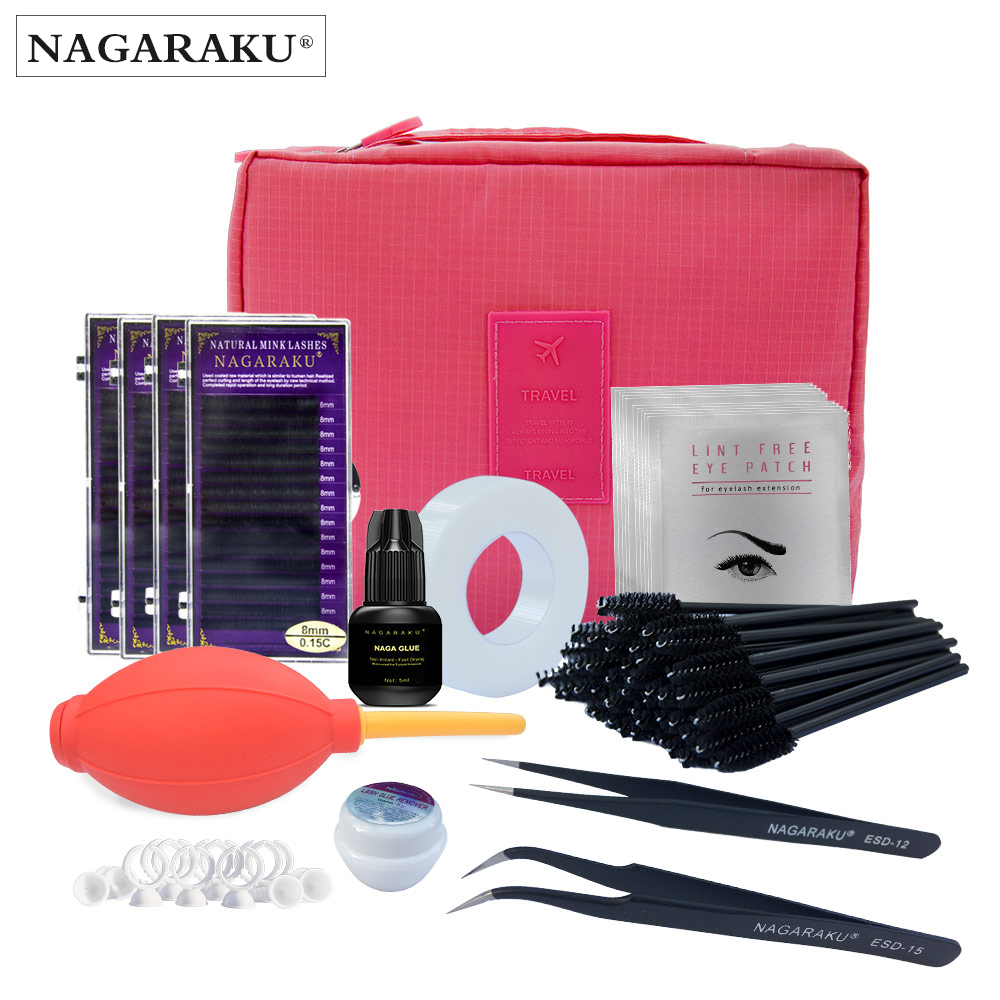 NAGARAKU NEW eyelashes extension kit for starter ,fashionable eyelashes extension set with glue ,eye pad , tape eyelahes brusth