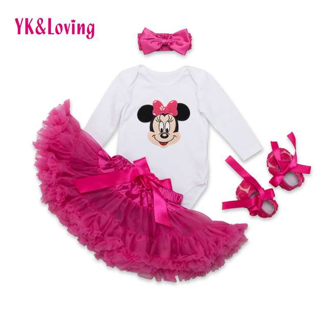 Cotton Minnie Baby Romper New Kids Clothes ShortSleeve Climb Clothes+Ruffles Tutu Dress Baby Girl Clothes Retail Children Suits