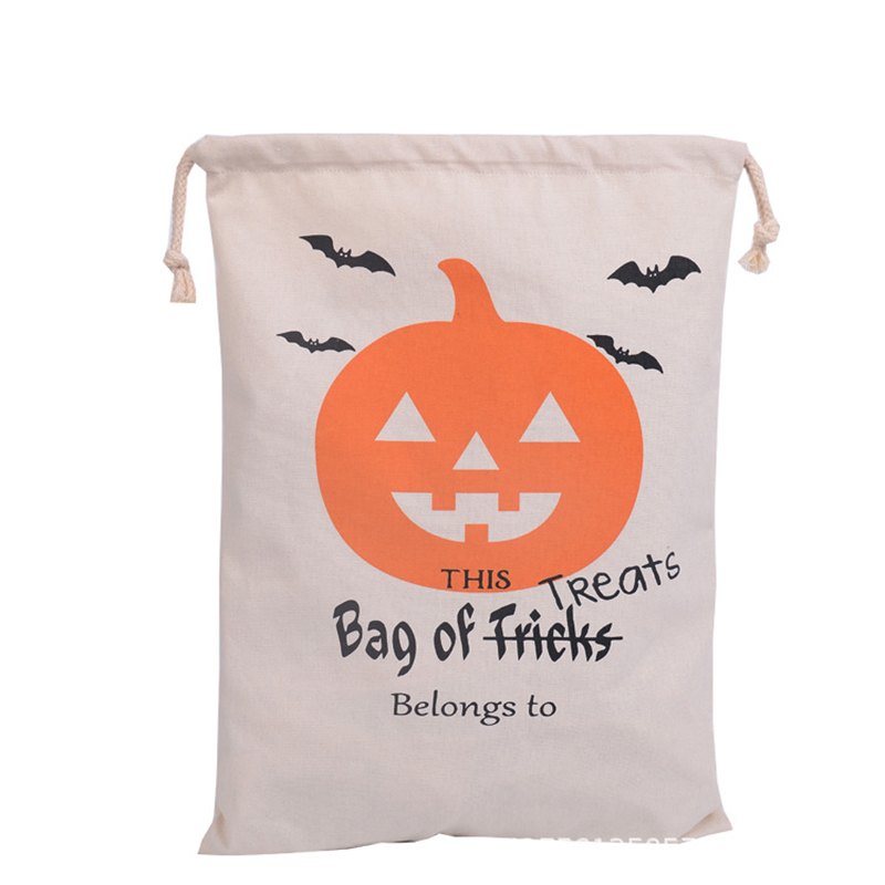 5 pcs 48cmx36cm high qualiy personalized halloween decoration canvas cotton drawstring bags home shopping gift with - Personalized Halloween Decorations