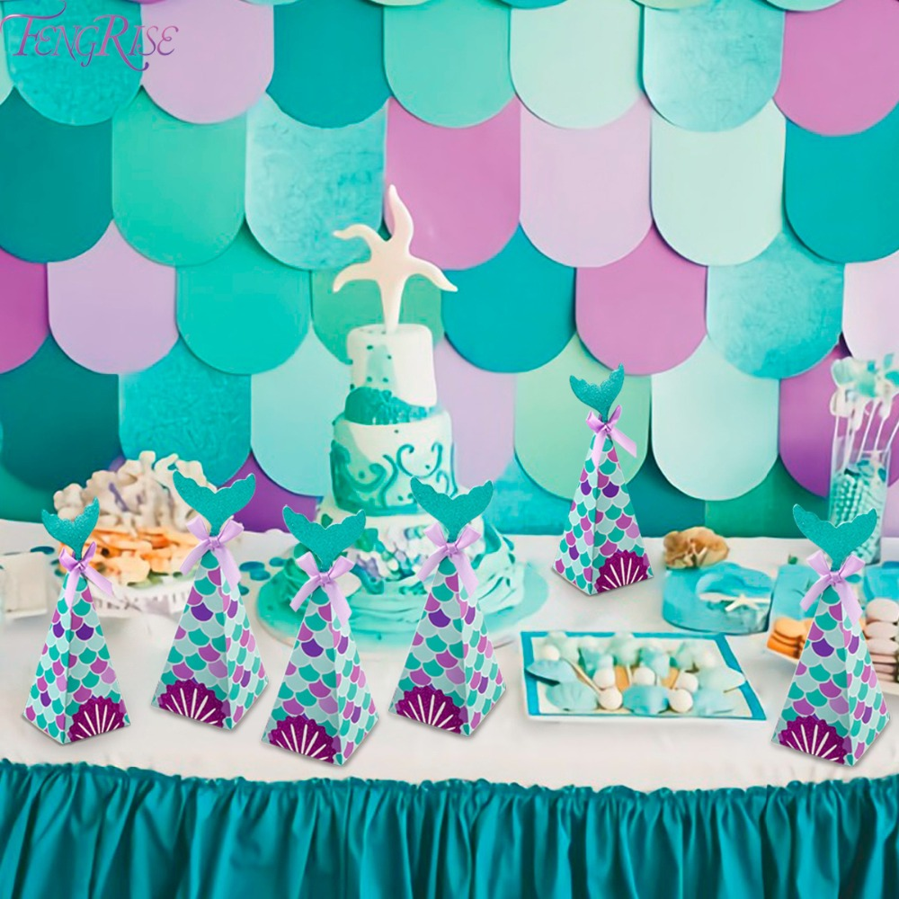 The Little Mermaid Birthday Candy Box Mermaid Party Gift Box Birthday Party Decor Kids Mermaid Wedding Party Supply Baby Shower