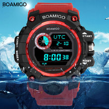 BOAMIGO brand UTC DST time raise to wake led light men digital sport red military watches 50m swim waterproof rubber band clock