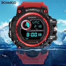BOAMIGO brand UTC DST time raise to wake led light men digital sport red military watches 50m swim waterproof rubber band clock