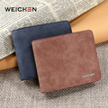 WEICHEN 2017 New Design Vintage Men Wallet PU Leather Short Wallet Money Clip Man Purse Money Credit Card Photo Holder Pocket