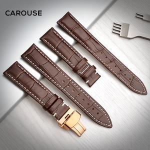 Image 3 - להתהולל רצועת השעון 18mm 19mm 20mm 21mm 22mm 24mm עגל עור להקת שעון פרפר אבזם רצועת צמיד אביזרי Wristbands
