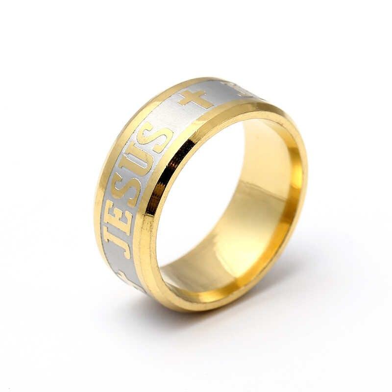 Wysokiej jakości duży rozmiar 8mm 316 Titanium stalowa 14KGP jezus krzyż list biblia wedding band pierścień mężczyźni kobiety