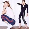 2017 Nova Primavera Mulheres Jeans Skinny De Cintura Alta Listras Laterais Cortadas Calças de Vaqueiro Gigi Estilo Tornozelo-comprimento Feminino Denim calças Calças