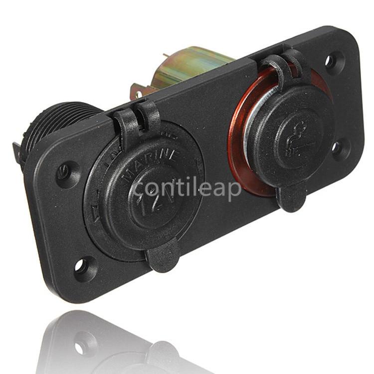 IZTOSS Electronic Cigarette Lighter 2 Way Socket Adapter Splitter Plug for Motorcycle Car 12 24V send