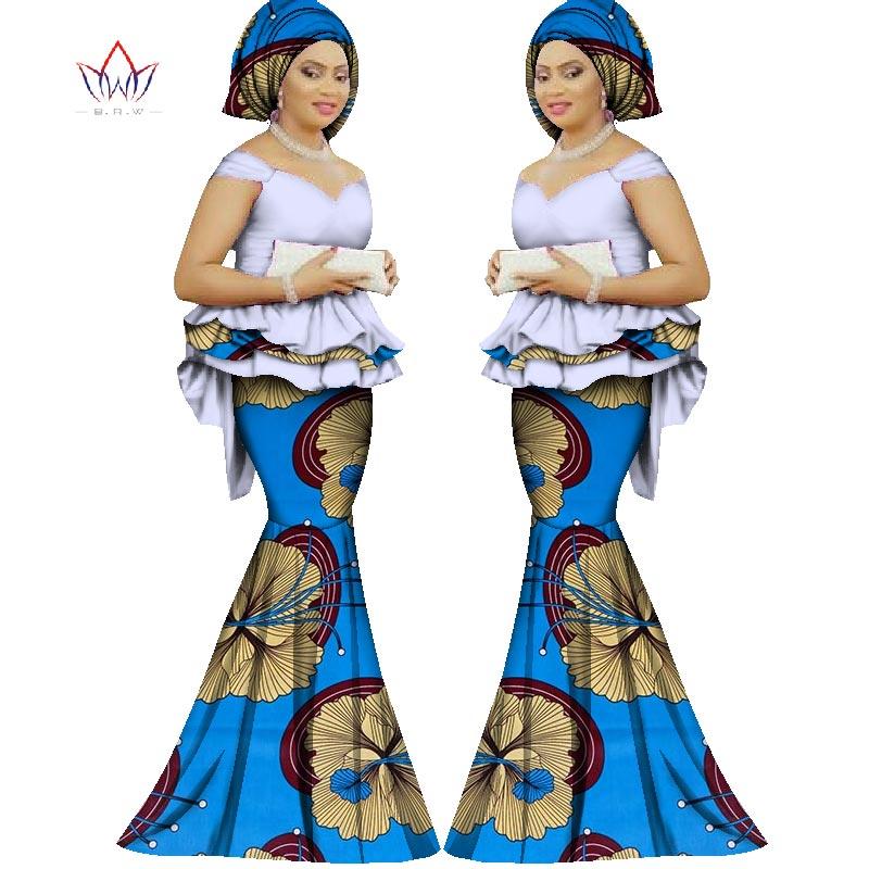 2017 Spring skirt set african direka pakaian tradisional bazin cetak - Pakaian kebangsaan - Foto 6