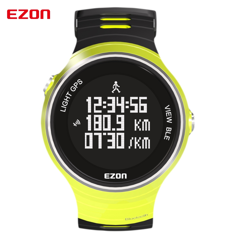 EZON GPS Pedometer Smart Bluetooth Calories Multifunction Sports Watches Waterproof 50m Digital Running Watch for IOS Android men s multi function waterproof smart sports running watch s2 with pedometer pair with android 4 3 ios6 0 or higher bluetooth