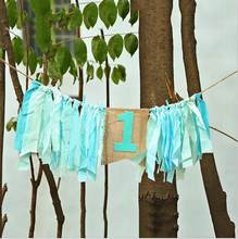 Baby boy Theme 1st age 120cm sky blue baby highchair buntings rag tied garlands(China)