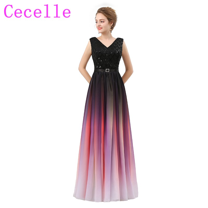 Ombre Chiffon A-line Long   Bridesmaid     Dresses   V Neck Colorful Formal   Bridesmaid   Gowns Wedding Party   Dresses     Bridesmaid   Robes
