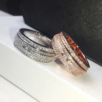 Fashion brand copper jewelry wholesale Rotating four rows of stone rings Men and women couples love ring gift