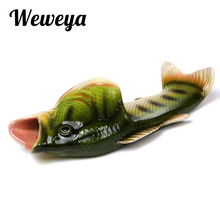 Weweya New Summer Shoes Men Sandals Fish Slippers Mens Flip Flops Sandals Beach Personality Strange Halloween Creative Slippers