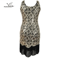 Women's 1920s Sequin Paisley Pattern Racer Back Flapper Black Gold Dress Sexy Fringe Great Gatsby Party Dress Vestido De Fiesta