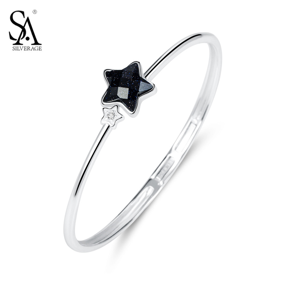 SA SILVERAGE 925 Sterling Silver Bangles Women Black Star Bangle Bracelet Femme Pure Silver Jewelry 2018 Women Best Girl Gift