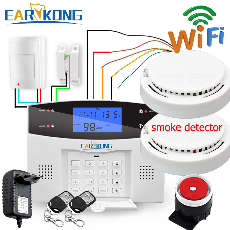 Wired Wireless 433MHz Wifi PSTN GSM Home Burglar Security Alarm System Smart Home Relay Output APP