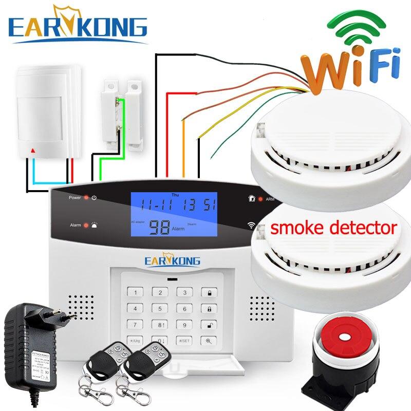 Filaire et sans fil 433 MHz, Wifi PSTN GSM maison système d'alarme de sécurité cambrioleur maison intelligente relais sortie APP russe espagnol 7 langue