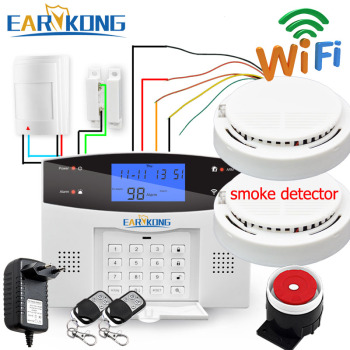 цена на Wired & Wireless 433MHz, Wifi PSTN GSM Home Burglar Security Alarm System Smart Home Relay Output APP Russian Spanish 7 language