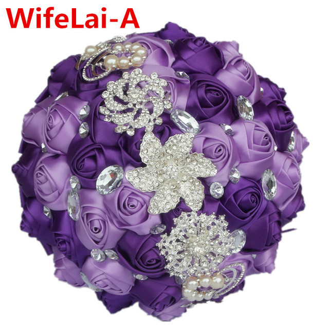 Romantic Purple Silk Bridal Brooch Bouquets Ramos de novia Ornament Artificial Flowers Crystal Wedding Bouquet You Custom W228-8