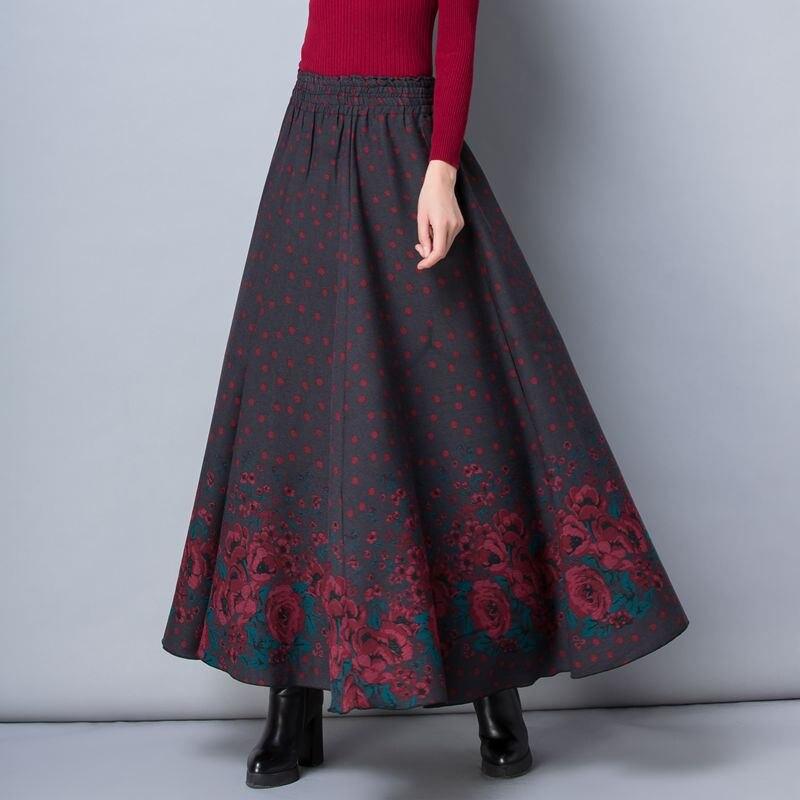Autumn Winter Skirts Womens Faldas Warm Floral Vintage High Waist Long Skirt Streetwear Casual Saias Thicken