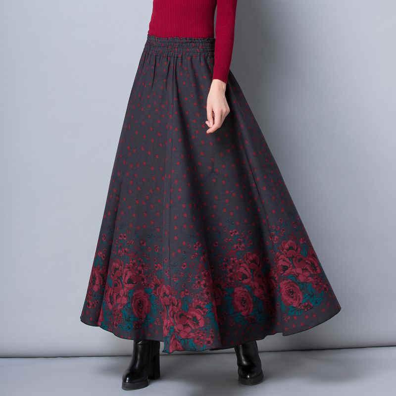 ea1823951dc Осенне-зимние юбки женские Faldas теплые Цветочные винтажные с высокой  талией длинная юбка Уличная Повседневная