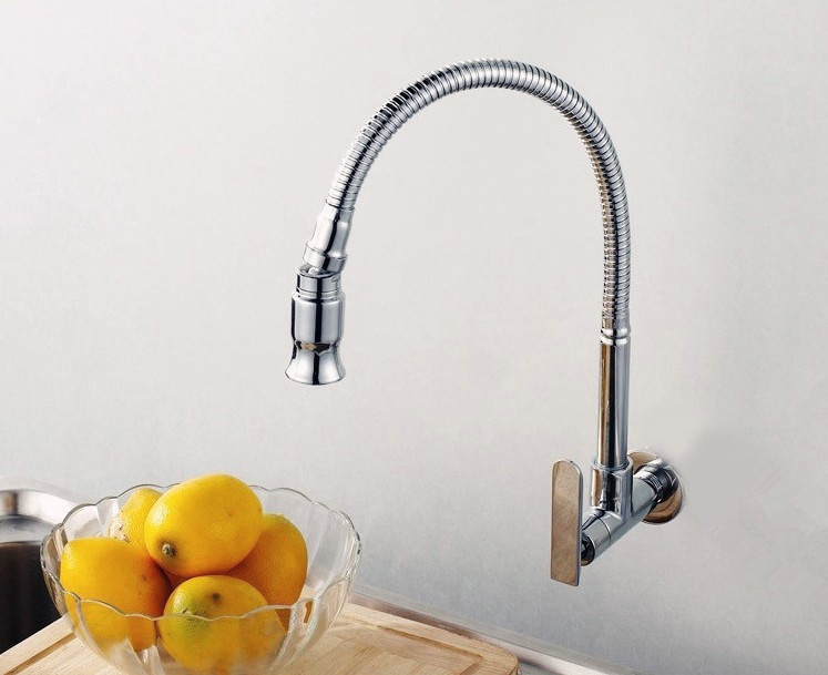 Brass Swivel Single Cold Kitchen Basin Faucet Sink Water Tap Vegetables Faucet Wall Mounted 360 degree