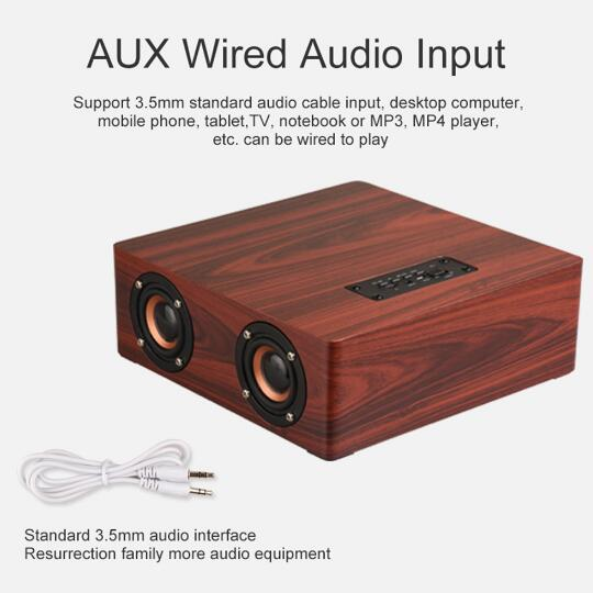 1Wireless Wooden Speaker Bluetooth 4.2 Home Theatre Sound Stereo Music Subwoofer AUX 3.5Mm Computer Speakers With Mic