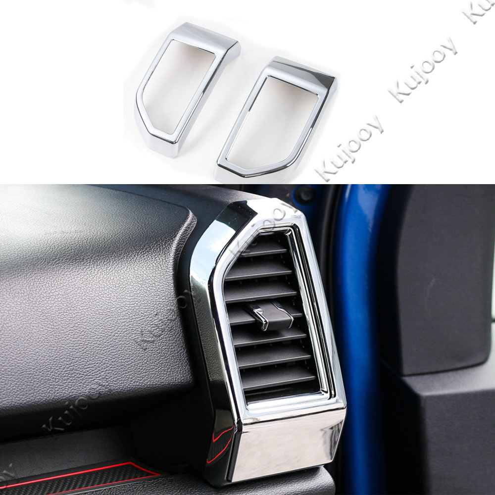 2pcs chrome silver car air outlet vent cover sticker decal frame trim abs for ford