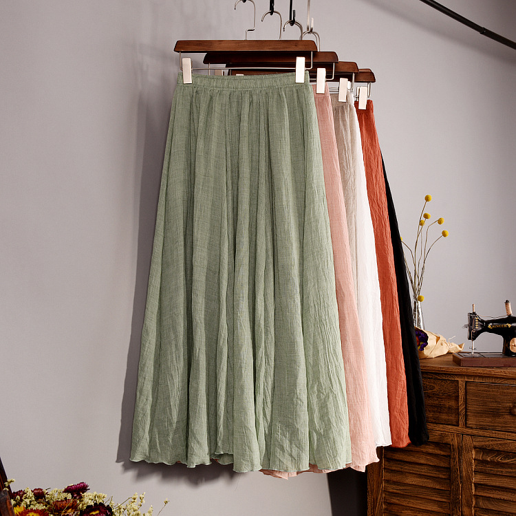Women's Elegant 16 Color High Waist Elastic Waist Linen Pleated Long Skirts Ladies Slim Casual Skirt Saias New 2018 Summer SK05