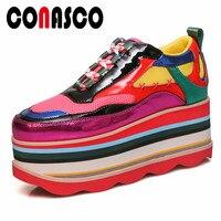 CONASCO/летние женские туфли из натуральной кожи на плоской подошве; дышащие женские кроссовки с круглым носком на платформе; разноцветная пов