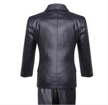 new fashion flash solid black three pcs boys pant+vest+vest formal suit blazer
