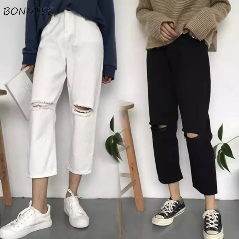 Jeans Women Trousers Spring Streetwear Solid-Hole Trendy High-Waist Korean-Style Casual title=