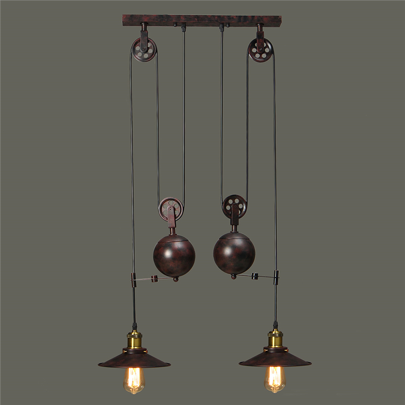 Smuxi E27 Pendant Lights Industrial Vintage Hanging Pulley 2 Head Pendant Lamps Fixture For Living Room Kitchen AC100-240V